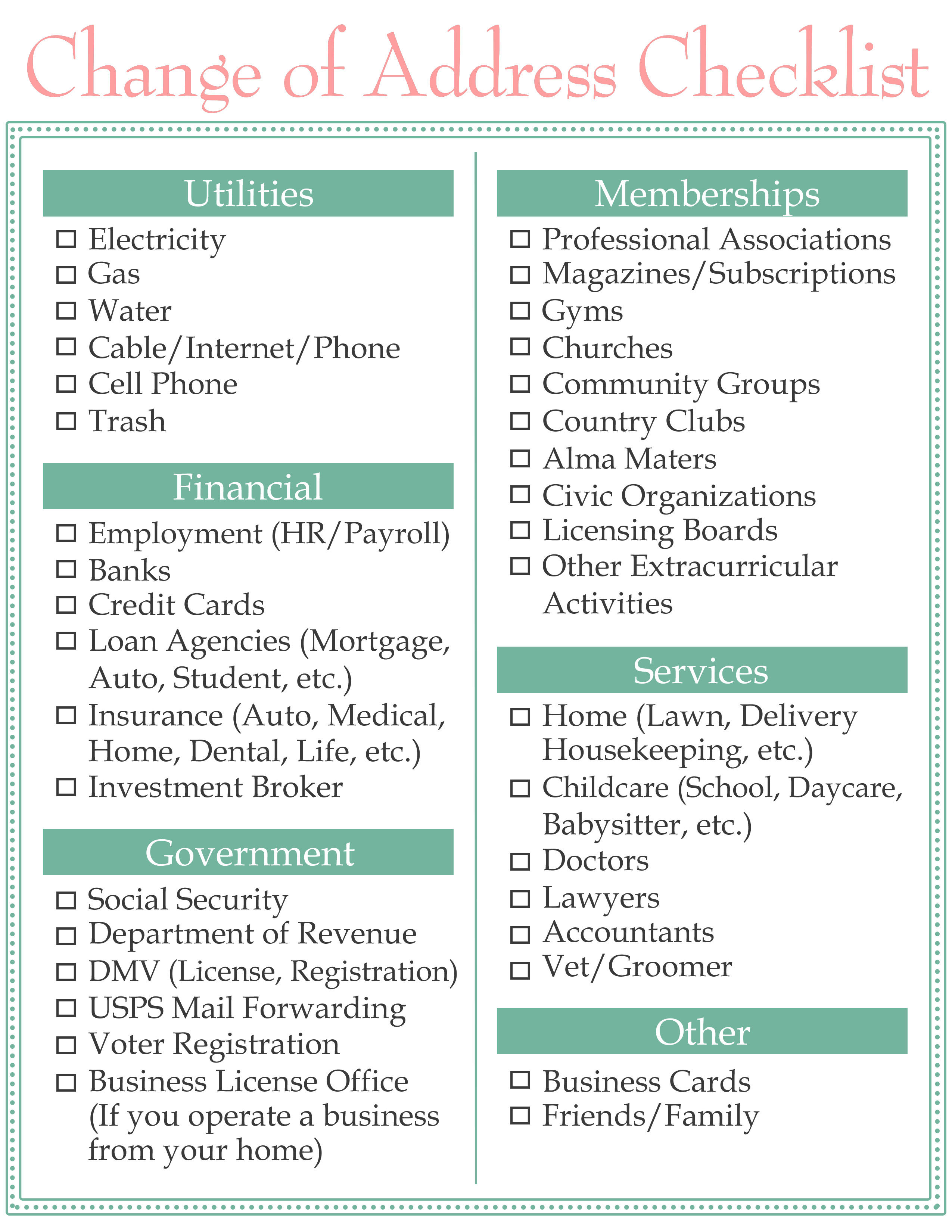 image about Change of Address Checklist Printable identify Variance of Go over Listing Household Lovable Existence