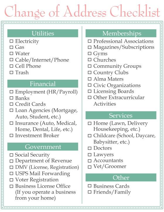 Change Of Address Checklist  Home Sweet Life